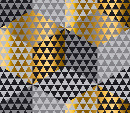 gold and black geometry hexagon seamless fabric sample. geometric pattern swatch vector illustration for wrapping paper, background Illustration