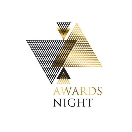 triangle geometry abstract vector illustration for header, invitation, card. concept triangle mosaic design element with elegant  gold luxury style  イラスト・ベクター素材