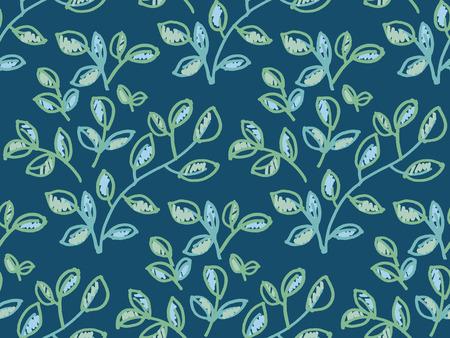 fresh spring color decorative abstract leaves seamless pattern. foliage tender ornament. hand drawn traced vector illustration. Ilustração Vetorial