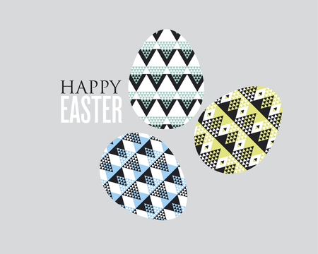 expansive: tribal geometry concept easter egg decoration. vector illustration of eggs pattern for greetings, decor, poster, header. geometric style color spring decor