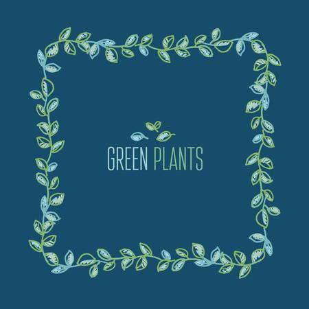 crocket: fresh spring color decorative leaves frame. foliage tender ornament. hand drawn traced vector illustration. Illustration
