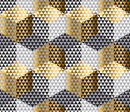 meshy: gold and black geometry hexagon seamless fabric sample. geometric pattern swatch vector illustration for wrapping paper, background Illustration
