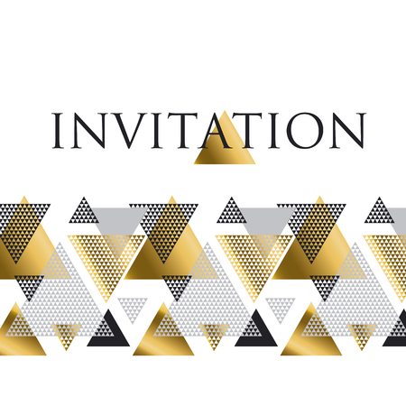 smart card: triangle geometry abstract vector illustration for header, invitation, banner, card. concept gold luxury new retro style dynamic pattern composition for poster