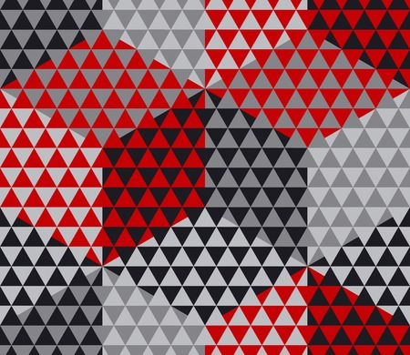 meshy: red and gray geometry hexagon seamless fabric sample. geometric pattern swatch vector illustration for wrapping paper, background Illustration