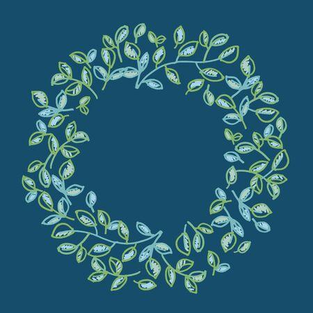 decoratief frame met frisse lentekleuren. gebladerte teder ornament. hand getrokken getraceerde vectorillustratie.