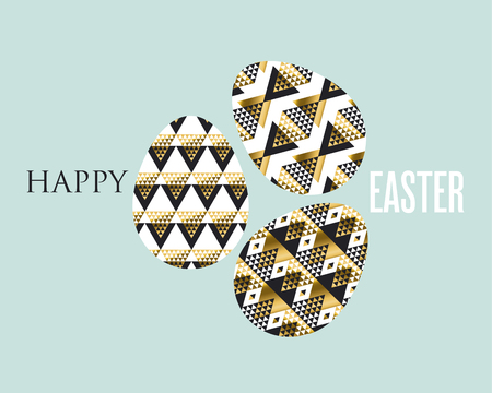 expansive: Art Nouveau style luxury spring decor. Gold and black concept easter egg decoration. vector illustration of eggs pattern for greetings, decor, poster, header.