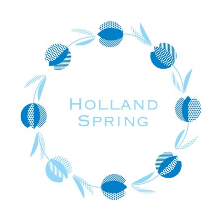 blue holland style tulip flower pattern. modern geometric floral vector illustration for card, invitation, poster, header, wedding.