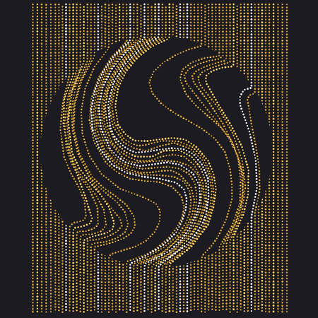 line and dot concept minimalistic geometry surface design. abstract modern panel with gold luxury drops and blot in a circle composition on black background Illustration