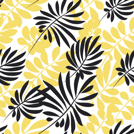 Modern plant pattern. Yellow and black tropical leaves seamless pattern for wrapping paper, fabric, box, cloth, background, wallpaper. Nature repeatable surface design in hand drawn style