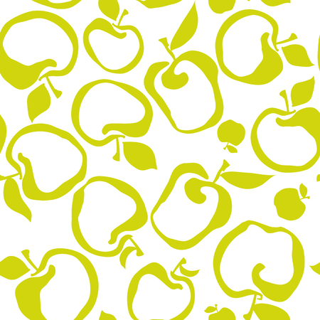 Lime green color simple flat apple fruit seamless pattern for fabric, kitchen supplies, wrapping paper. Repeatable surface design in naive retro inspired style Illustration