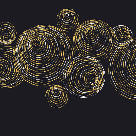 expansive: line and dot concept minimalistic geometry surface design. abstract modern panel with gold luxury drops and blot in a circle composition on black background Illustration