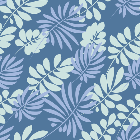 exotica: Tender pale blue and green tropical leaves seamless pattern. Decorative summer nature surface design. vector illustration for fabric, print, wrapping paper