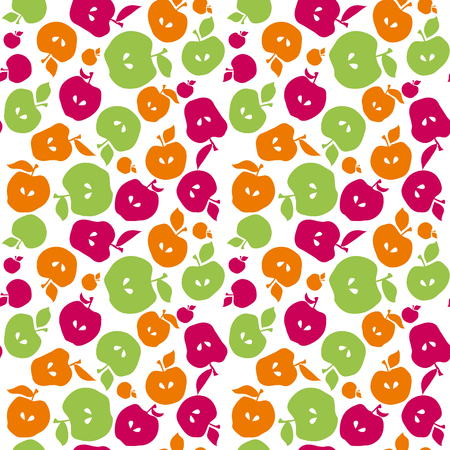 Cute simple flat apple fruit seamless pattern for fabric, kitchen supplies, wrapping paper. Repeatable surface design in naive retro inspired style