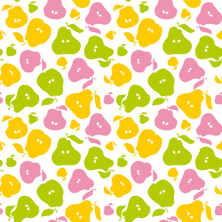 Pear fruit seamless pattern for fabric, background, wrapping paper. repeatable surface design for kitchen in simple flat cute style Illustration