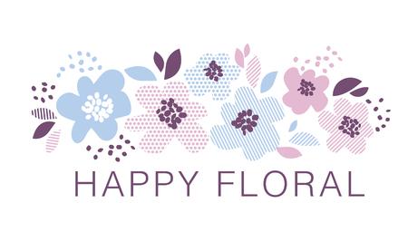 青やバラ色の色幾何学様式の装飾的な花の要素。春の花カード、招待状、結婚式の装飾、印刷表面の設計。