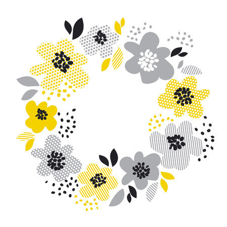 steep: contemporary spring floral design  with yellow abstract flowers. modern geometry vector illustration. stylish surface design for cards, poster, web banners, header and book cover Illustration