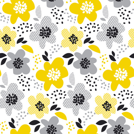 contemporary spring floral seamless pattern with yellow abstract flowers. modern geometry vector illustration. stylish surface design for wrapping paper, fabric, box, cloth, background