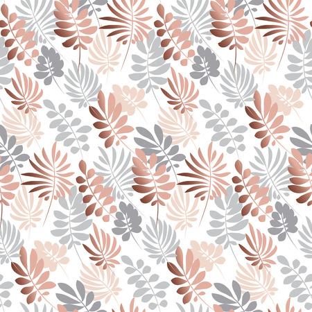 抽象的な熱帯は、柔らかいパステル カラーのシームレスなパターンを残します。装飾的な自然表面デザイン。ベクトル印刷、カード、ポスター、装  イラスト・ベクター素材