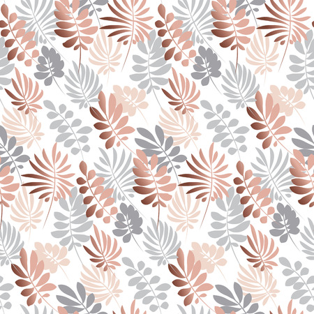 Abstract tropical leaves seamless pattern in tender pastel color. Decorative nature surface design. vector illustration for print, card, poster, decor, header, Illustration
