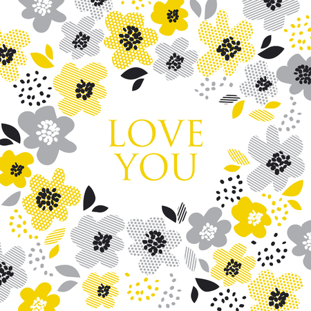 awkward: contemporary spring floral design  with yellow abstract flowers. modern geometry vector illustration. stylish surface design for cards, poster, web banners, header and book cover Illustration