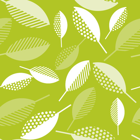 spring green leaves abstract vector illustration. seamless pattern with modern geometry pattern leaf. surface design for wrapping paper, fabric, box, cloth, background Illustration