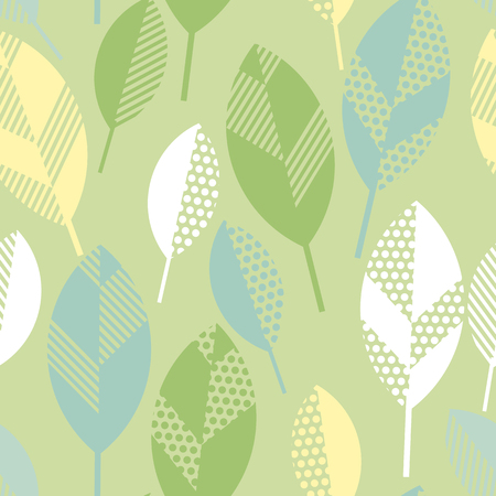 spring floral seamless pattern with leaves. abstract  modern geometry vector illustration. surface design for wrapping paper, fabric, box, cloth, background
