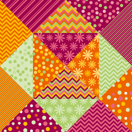 Bright summer style fabric pattern samples. Simple cute polka dot and floral patchwork  motif