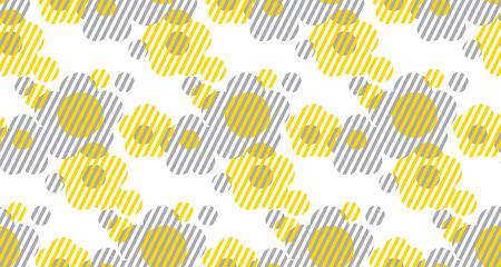 Vectorillustratie op de vormbloemen van de conceptenmeetkunde voor oppervlakteontwerp, kopbal, stof. Laconische minimalistische stijl naadloos patroon. Concept tweekleurig herhaalbaar motief.