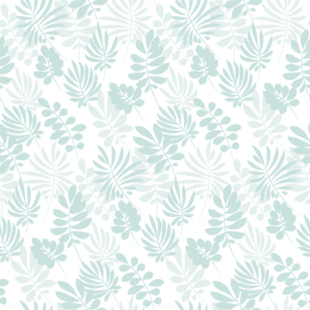 Tropical tender image on white background for bed linen. Seamless floral pattern with exotic leaves for wrapping paper, fabric, cloth. Vector illustration Çizim