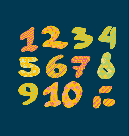 Figure numbers lettering vector illustration. Bright summer letters for childish header, invitation, card.