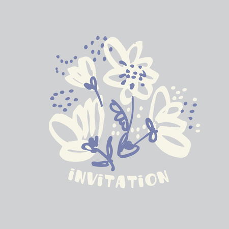 Hand drawn shabby floral design element for card, header, invitation. Sketch style pale color flowers motif in laconic minimal style.