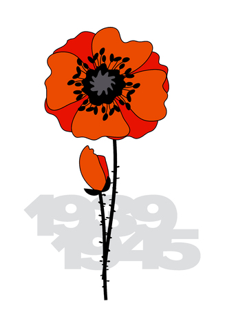 Isolated poppy flower poster. II world war illustration with poppy flower and years numbers