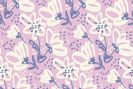 Hand drawn shabby floral seamless pattern for surface design, wrapping paper, fabric, background. Sketch style pale color flowers repeatable motif. Illustration
