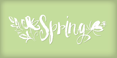 hand drawn Spring word lettering with abstract flowers. concept shabby sketch style image for print and web