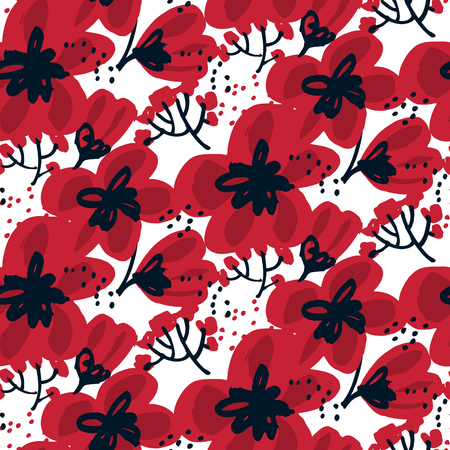 Blossom seamless pattern for surface design: wrapping paper, background, fabric. Abstract hand drawn red flower vector illustration.  Sketch decorative flowers