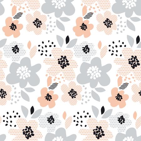 ロマンチックな淡い色の花柄シームレスなベクトル イラスト。表面のデザイン、包装紙、背景、印刷の幾何学的なモチーフの花します。
