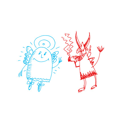 hand drawn sketch illustration of angel and devil. vector traced illustration for print and web
