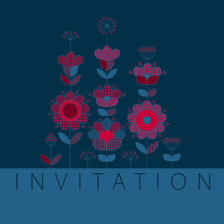 Deep blue and red pattern design elements for in boho style. Rustic decorative surface design inspired by traditional folk European ornaments for print and web cards, header, poster. Illustration