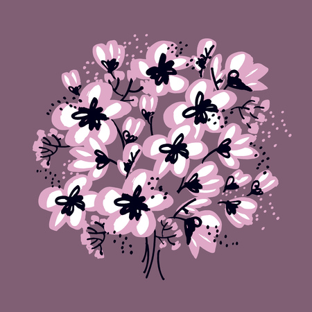Abstract hand drawn apple blossom vector illustration. Spring tree blooming design element for print and web projects. Sketch decorative flowers for card, header, poster, book cover.