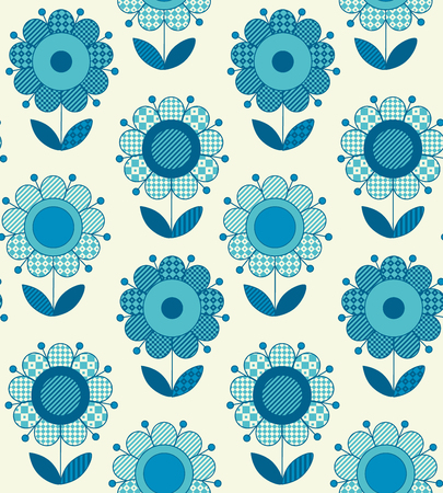 Vector seamless flower pattern for surface design in traditional folk style. Geometry 60s inspired floral  illustration in blue pottery color for wrapping paper, fabric, cloth. Ilustração