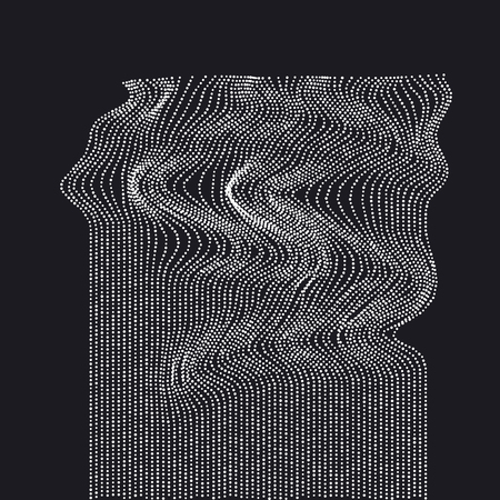 White on black abstract waterfall concept. dynamic emitted particles array. Dot vector Illustration. Modern geometry luxury design for card, header, web-banner, wallpaper. Ilustração
