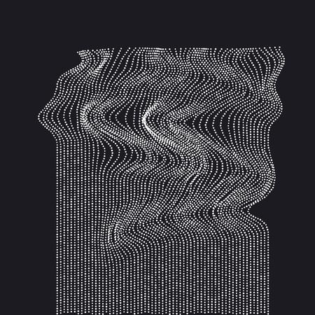 Wit op zwart abstract watervalconcept. reeks van dynamische geëmitteerde deeltjes. Dot vector illustratie. Modern geometry luxe ontwerp voor kaart, header, web-banner, behang.