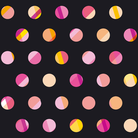 Modern polka dot seamless pattern, concept surface design for background, fabric, wallpaper. geometry dots repeatable motif fun vector illustration on black background Illustration