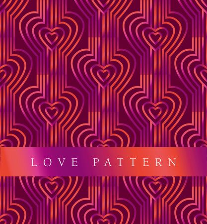 secession: vector pink pattern with art heart