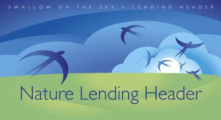 swallow lending page header. vector illustration of summer sky and meadow Ilustração