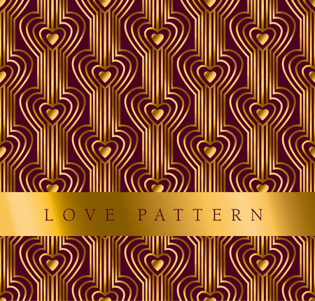 secession: gold vector pattern with heart in art deco style Illustration