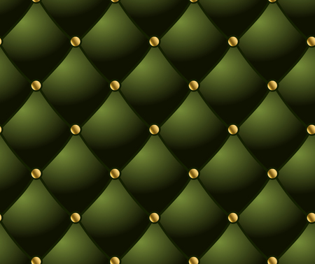 rivets: classic lounge couch pattern. green quilted background. Illustration