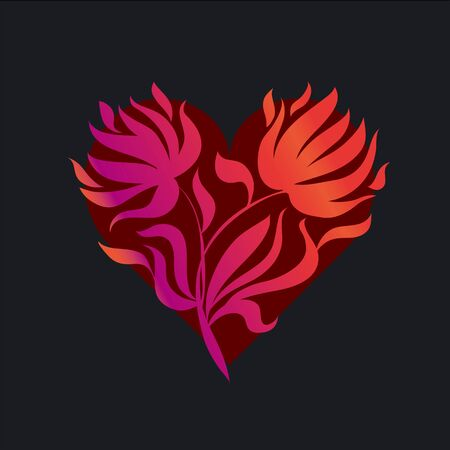 vector illustration of red flame heart