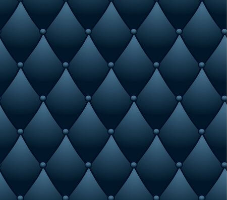 Classic lounge couch pattern. blue quilted background. Illustration