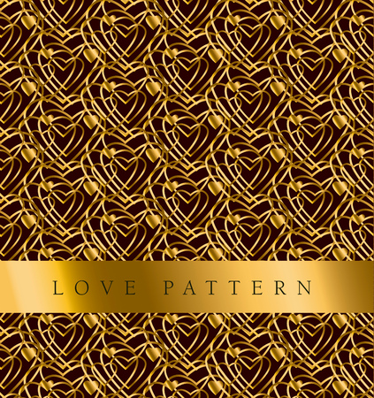 secession: Gold vector pattern with heart in art deco style
